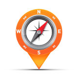 Compass map pin. Integrated compass into a map pin. Pushpin for navigation and map pointer  on white Stock Images