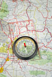 Compass On Map Pointing North Royalty Free Stock Photo