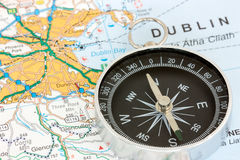 Compass on the map Royalty Free Stock Photography