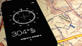 Compass on map. Of Rome Royalty Free Stock Image