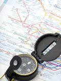 Compass on a map Traveling in Japan royalty free stock image