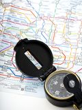 Compass on a map Traveling in Japan stock photography