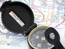 Compass on a map Traveling in Japan royalty free stock photography