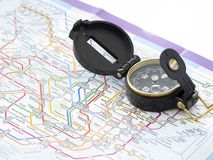 Compass on a map Traveling in Japan stock image