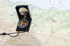 Compass on a map Royalty Free Stock Images