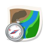Compass and map. Vector illustration Royalty Free Stock Photography