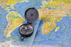 Compass and the map of the world Royalty Free Stock Images