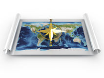 Compass with map of world. 3D image Stock Photos