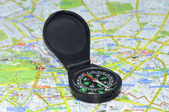 Compass. On Maps of Berline Royalty Free Stock Photo