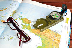 Compass and maps Royalty Free Stock Image
