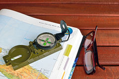 Compass and maps Stock Photos