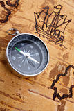 Compass on marine chart Royalty Free Stock Image