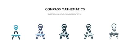 Free Compass Mathematics Tool For Drawing Circles Icon In Different Style Vector Illustration. Two Colored And Black Compass Royalty Free Stock Photography - 161212287