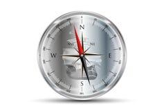 Compass Metallic With Sailboat Background Stock Photos