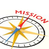 Compass with mission word Royalty Free Stock Photos