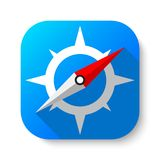 Compass mobile app. Vector design of mobile app icon button royalty free illustration