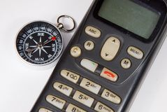 Compass, mobile phone. Stock Photography