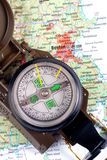 Compass on modern map Royalty Free Stock Photo