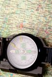 Compass on modern map Royalty Free Stock Image