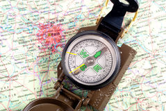 Compass on modern map Royalty Free Stock Photos
