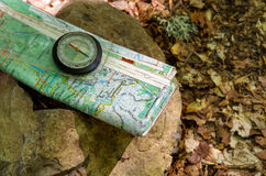 Compass on modern map Royalty Free Stock Images