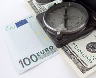 Compass on money Royalty Free Stock Photography