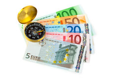 Compass and money Stock Images