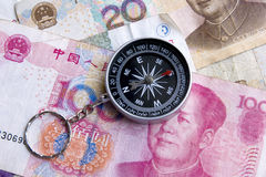 Compass on money background Royalty Free Stock Photos
