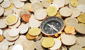 Compass on money background. Compass on many money background Stock Photography