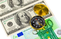 Compass and money Stock Photography