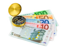 Compass and money Royalty Free Stock Photography