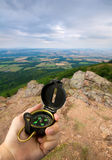 Compass on mountain top Stock Images