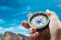 Compass in mountains Royalty Free Stock Photography