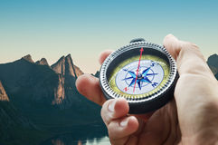 Compass in mountains Stock Images