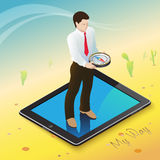 Compass My Way. 3d isometric mobile web surfer infographics concept Stock Photo