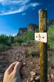 Compass Navigation. A hiker uses a compass to navigate through the sonoran desert Stock Photography