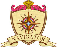 Compass Navigator Coat of Arms Crest Retro. Illustration of a vintage compass or star set inside crest shield with scroll and words Navigator on  background done Stock Photo