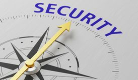 Compass needle pointing to Security Royalty Free Stock Images