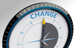 Compass needle pointing to the word change Royalty Free Stock Photos