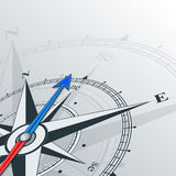 Compass northeast. Compass with wind rose, the arrow points to the northeast. Illustrations can be used as background Stock Photo