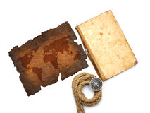 Compass, old book, rope and map Royalty Free Stock Image
