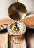 Compass and old books Royalty Free Stock Photography
