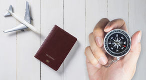 Compass for old fashioned vacation travel direction Stock Image