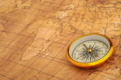 Compass on old map. Stock Photography