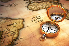 Compass and old map Royalty Free Stock Images