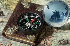 Compass on the old map Royalty Free Stock Photography