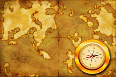 Compass on the old map Stock Photography