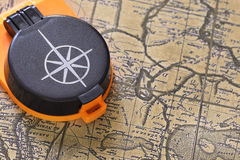 Compass and old map Royalty Free Stock Photography