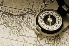 Compass and old map Stock Photos