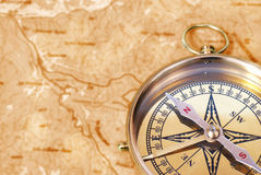 Compass on old map Stock Photography